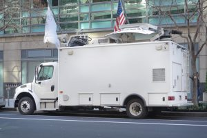 Sheik Mo's catering van at Federal Plaza, NYC