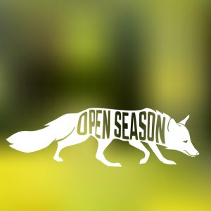 Fox silhouette with concept phase inside on blur background of forest