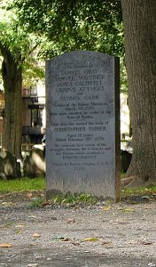 Boston Massacre Gravestone Image by lorax, wikimedia commons.