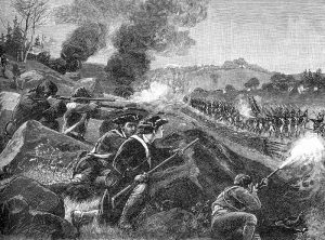 Engraving of The Battle of Lexington public domain, wikimedia commons