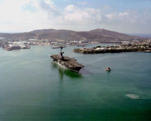 USS Lexington leaving Guantanamo Bay Image by US Navy, public domain