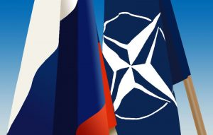 Russian and NATO flags Image by Mailoanton, wikimedia commons.