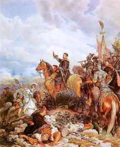 King Jan III Sobieski Blessing Polish Attack Painting by Juliusz Kossak, public domain
