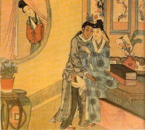 Woman Spying on Male Lovers Qing Dynasty, Chinese Sexual Culture Museum, Shanghai Image public domain