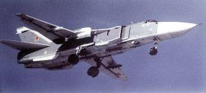 Russian Sukhoi SU-24 Image by US Dept. of Defense, public domain.