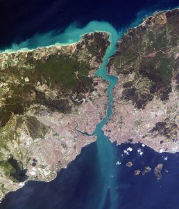 Aerial view of Istanbul and the Bosphorus Strait, which connects the Black and Mediterranean Seas. Image by NASA, public domain.