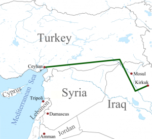 Kirkuk-Ceyhan Oil Pipeline -- only one of many through Turkey. Image by Amirki, wikimedia commons.