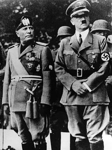 Allies Benito Mussolini and Adolf Hitler Image from the US Holocaust Memorial Mueum public domain