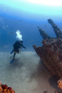 Scientist surveys sunken German U-Boat U-701 of the coast of North Carolina. Image by NOAA's National Ocean Service.