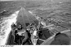 Deck of U-Boat &123, January 1942. Image by German Federal Archives.