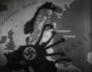 The six lines of attack comprising Operation Barbarossa on June 22, 1941. From The Battle of Russia, the fifth film in the Why We Fight series by US Govt. public domain