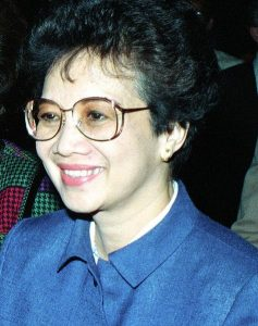 Corazon Aquino, 1986, at Andrews Air Force Base. Image by US Air Force, public domain.