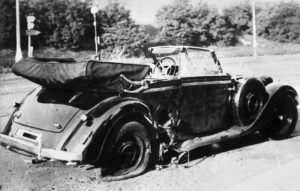 Reinhard Heydrich's car after the attack. Image in German Federal Archive, public domain
