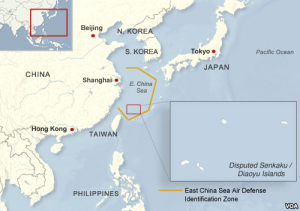 East China Sea Air Defense Identification Zone Image by Voice of America, public domain