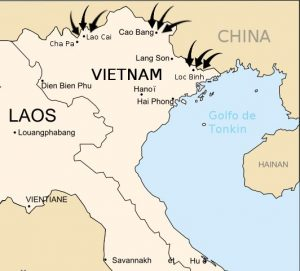 1979 Chinese Invasion of Vietnam Map by Ceresnet, wikimedia commons.
