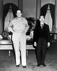 US General Douglas MacArthur and Emperor Hirohito September 27, 1945 public domain, wikimedia commons