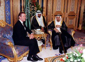 Secy of Defense William Cohen (left) and King Fahd ibn 'Abd al-'Azīz Āl Sa'ūd (right) October 13, 1998 Image by Dept of Defense, public domain