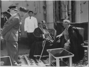 King Ibn Saud & President Franklin D. Roosevelt Great Bitter Lake, Egypt, 2-14-1945 Image public domain