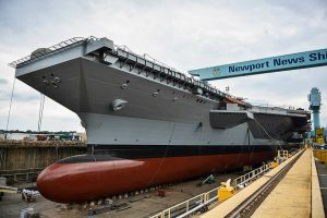 USS Gerald Ford under construction in Newport News, VA. Image public domain.