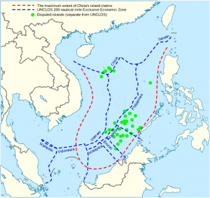 China's Maritime Claim (red) UNCLOS Exclusive Economic Zones (blue) Image by Goran Tek-en, wikimedia commons.