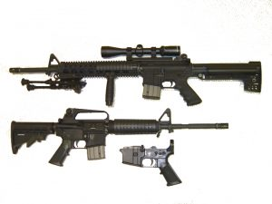 CA-legal AR-15 w/Stag receiver and fixed 10-round magazine Image by TheAlphaWolf, public domain.
