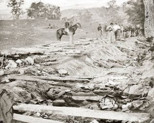 Bloody Lane at Antietam filled with Confederate dead image by Alexander Gardner, US Army, public domain