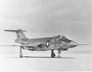 First F-10-1A on lakebed at Edwards AFB Image by USAF, public domain.